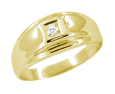 Men's Diamond Set Retro Moderne Ring in 14 Karat Yellow Gold