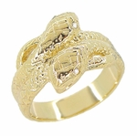 Men's Double Serpent Snake Ring with Diamond Eyes in 14 Karat Yellow Gold