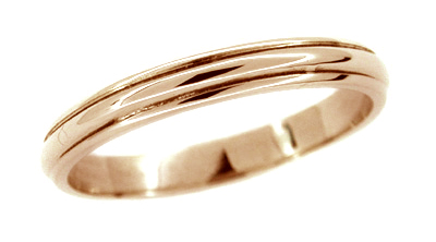 Men's Grooved Wedding Band Ring in 14 Karat Rose Gold