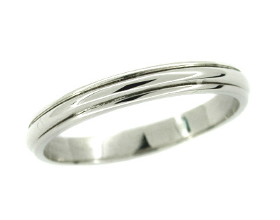 Men's Grooved Wedding Band Ring in 14 Karat White Gold