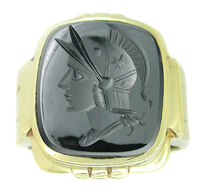 Men's Hematite Intaglio Ring in 10 Karat Gold