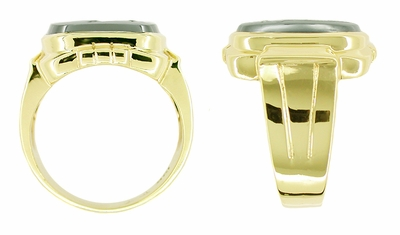 Men's Hematite Intaglio Ring in 10 Karat Gold - Item MR108 - Image 1