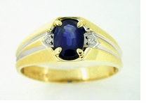Men's Sapphire and Diamond Ring in 14 Karat White and Yellow Gold