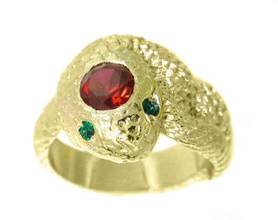 Men's Snake Ring with Ruby and Emeralds in 14 Karat Gold