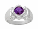 Mens Art Deco Amethyst Ring in 14 Karat White Gold