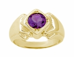 Geometric Art Deco Men's Amethyst Ring in 14 Karat Yellow Gold