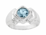 1920's Vintage Style Art Deco Aquamarine Ring for a Man in 14 Karat White Gold