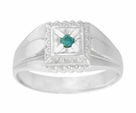Mens Art Deco Blue Diamond Ring in 14 Karat White Gold