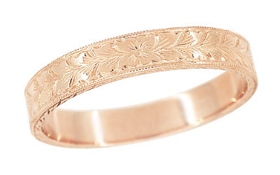 Mens Antique Style Art Deco Engraved Wheat Wedding Ring in 14 Karat Rose ( Pink ) Gold