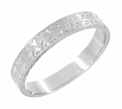 Mens Art Deco Vintage Engraved Wheat Wedding Ring Design in 14 Karat White Gold - Item MR858WND - Image 1