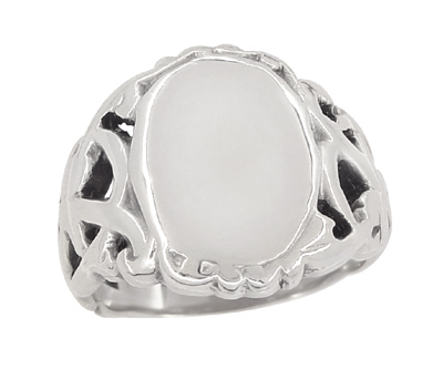 Mens Art Nouveau Oval Signet Ring in 14 Karat White Gold