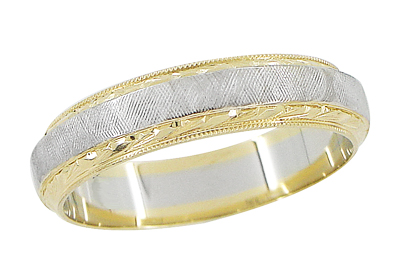 Mens Hand Engraved Mid Century Vintage Wedding Band in 14 Karat Yellow and White Gold | Ring Size 10
