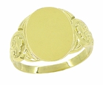 Mens Oval Victorian Signet Ring in 14 Karat Yellow Gold
