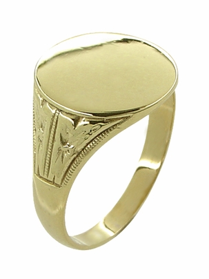 Mens Victorian Oval Antique Signet Ring in 10 Karat Gold - Item R980 - Image 1