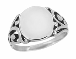 Mens Victorian Oval Signet Ring in 14 Karat White Gold