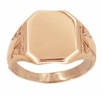 Mens Victorian Rectangular Signet Ring in 14 Karat Rose ( Pink ) Gold