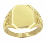 Mens Victorian Rectangular Signet Ring in 14 Karat Yellow Gold
