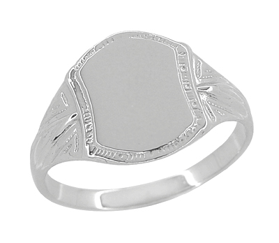 Mens Victorian Shield Signet Ring 14K White Gold Vintage Replica