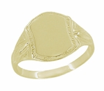 Mens Victorian Shield Signet Ring in 14 Karat Yellow Gold