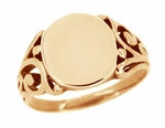 Mens Victorian Signet Ring in 14 Karat Rose ( Pink ) Gold