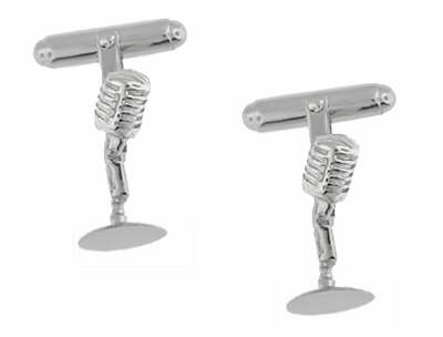 Microphone Cufflinks in Sterling Silver - Item SCL228 - Image 1