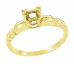 Mid Century 1/3 Carat Engagement Ring Setting in 14K Yellow Gold | 4.5mm Round Stone Mount