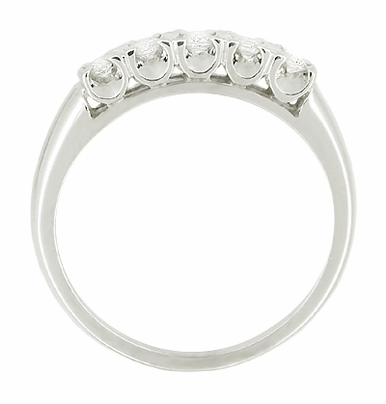 Mid Century Antique Diamond Wedding Band in 14 Karat White Gold - Item R389 - Image 1
