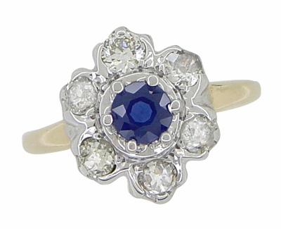Mid Century Antique Floral Diamond and Blue Sapphire Ring in 14 Karat White and Yellow Gold - Item R415 - Image 2