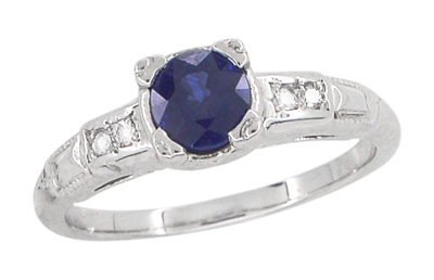 Mid Century Blue Sapphire and Diamond Antique Engagement Ring in Platinum