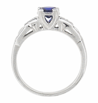 Mid Century Blue Sapphire and Diamond Antique Engagement Ring in Platinum - Item R392P - Image 2