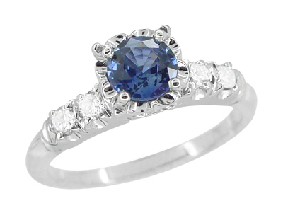 1950s Vintage Inspired Cornflower Blue Sapphire Engagement Ring in 14K White Gold with Side Diamonds
