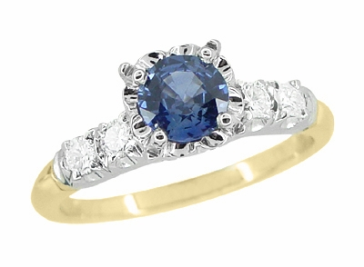 Mid Century Cornflower Blue Sapphire Engagement Ring in 14K Yellow & White Gold | 1950s Vintage Style - Item R728 - Image 1