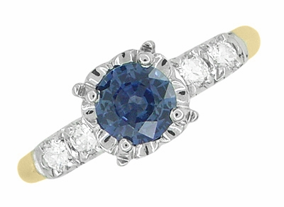 Mid Century Cornflower Blue Sapphire Engagement Ring in 14K Yellow & White Gold | 1950s Vintage Style - Item R728 - Image 2