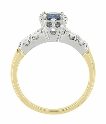 Mid Century Cornflower Blue Sapphire Engagement Ring in 14K Yellow & White Gold | 1950s Vintage Style - Item R728 - Image 3