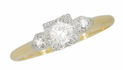 Mid Century Diamond Antique Engagement Ring in 14 Karat White and Yellow Gold - Item R741 - Image 1