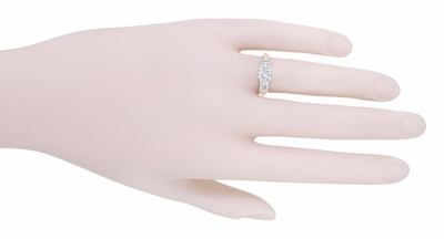 Mid Century Diamond Engagement Ring in Two Tone 14K White and Rose Gold - Item R728RD - Image 4