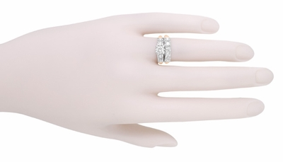 Mid Century Diamond Engagement Ring in Two Tone 14K White and Rose Gold - Item R728RD - Image 5