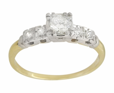 Mid Century Diamond Vintage Engagement Ring in 14 Karat White and Yellow Gold - Item R775 - Image 1
