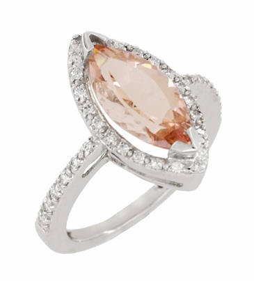 Mid Century Marquise Morganite Statement Ring with Diamonds in 18 Karat White Gold - Item R1167 - Image 1