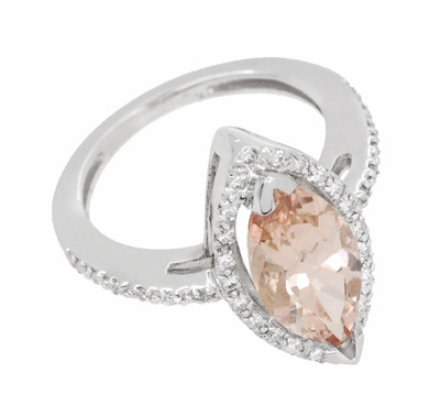 Mid Century Marquise Morganite Statement Ring with Diamonds in 18 Karat White Gold - Item R1167 - Image 2