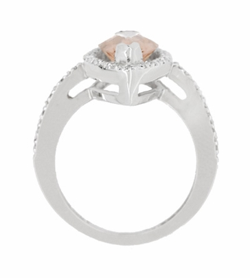 Mid Century Marquise Morganite Statement Ring with Diamonds in 18 Karat White Gold - Item R1167 - Image 3