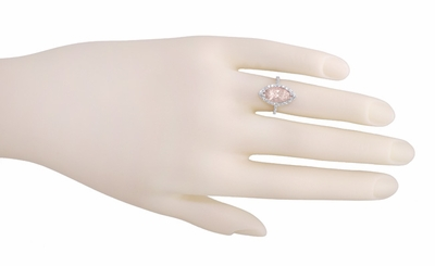 Mid Century Marquise Morganite Statement Ring with Diamonds in 18 Karat White Gold - Item R1167 - Image 4