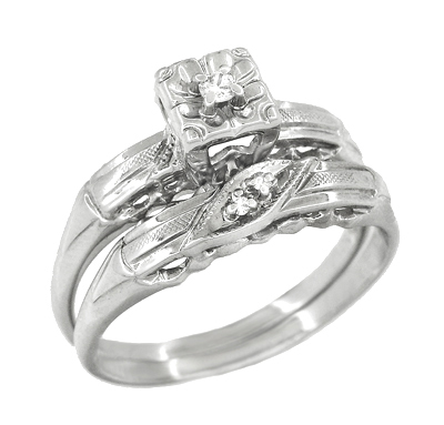 Mid Century Retro Moderne Engagement Ring and Wedding Ring Set in 14K White Gold