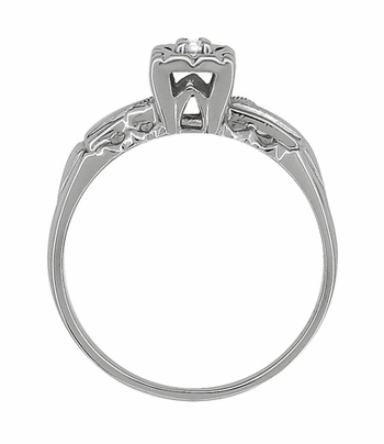 Mid Century Retro Moderne Engagement Ring and Wedding Ring Set in 14K White Gold - Item R824 - Image 3