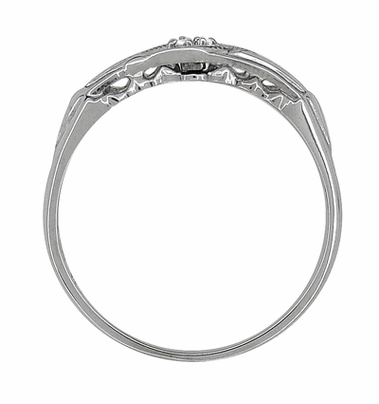 Mid Century Retro Moderne Engagement Ring and Wedding Ring Set in 14K White Gold - Item R824 - Image 4