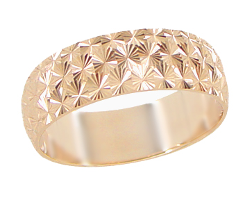 Mid Century Starbursts Engraved Wedding Band in 14 Karat Rose ( Pink ) Gold