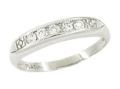Mid Century Straightline Diamond Vintage Wedding Band in Platinum