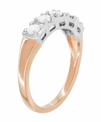 Mid Century Straightline Diamond Wedding Ring in 14 Karat White and Rose ( Pink ) Gold - Item WR728R - Image 1