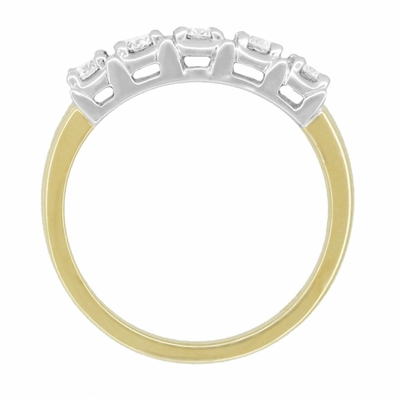 Mid Century Straightline Diamond Wedding Ring in 14 Karat White and Yellow Gold - Item WR728 - Image 2