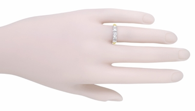 Mid Century Straightline Diamond Wedding Ring in 14 Karat White and Yellow Gold - Item WR728 - Image 3